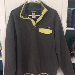 Gray Patagonia Synchilla Snap T Pull Over Fleece